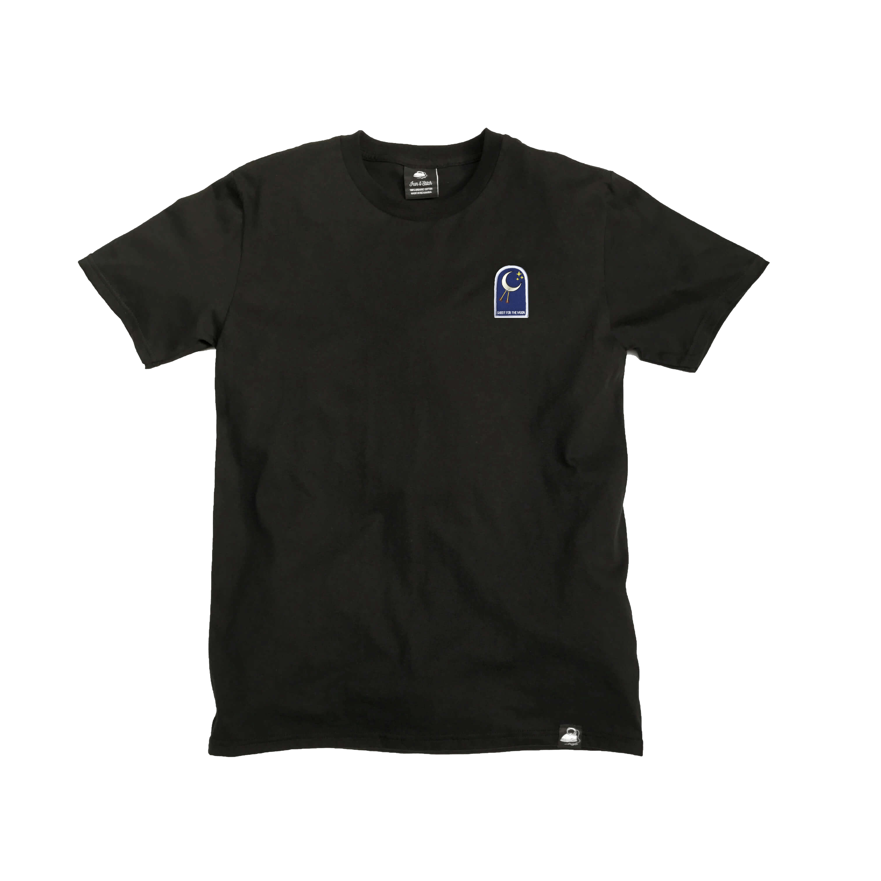 Black Organic Cotton Tee + Shoot For The Moon Patch (L) - Iron & Stitch