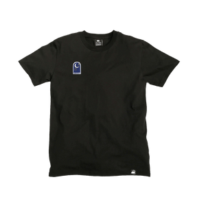 Black Organic Cotton Tee + Shoot For The Moon Patch (R) - Iron & Stitch