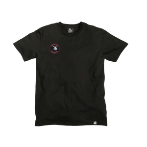 Black Organic Cotton Tee + Whispering Tongues Patch (R) - Iron & Stitch