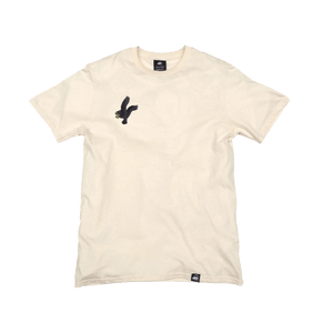 Natural Organic Cotton Tee + Black Eagle Patch (R) - Iron & Stitch