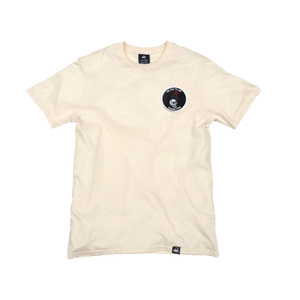 Natural Organic Cotton Tee + Rose Skull Patch (L) - Iron & Stitch