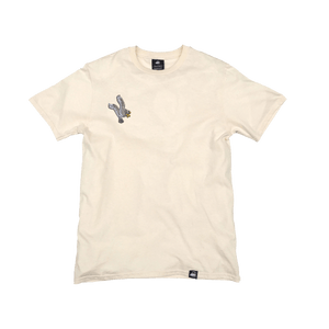 Natural Organic Cotton Tee + White Eagle Patch (R) - Iron & Stitch