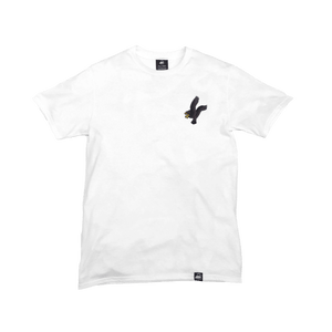 White Organic Cotton Tee + Black Eagle Patch (L) - Iron & Stitch