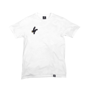White Organic Cotton Tee + Black Eagle Patch (R) - Iron & Stitch