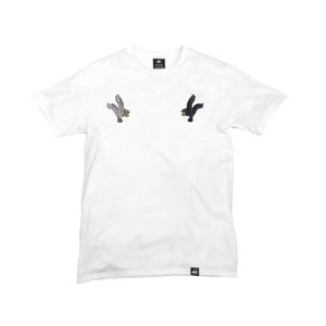 White Organic Cotton Tee + Eagles Patch Pack (R) - Iron & Stitch
