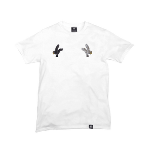 White Organic Cotton Tee + Eagles Patch Pack (L) - Iron & Stitch