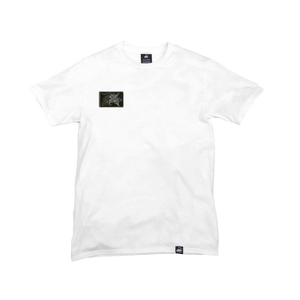 White Organic Cotton Tee + Samurai Patch (R) - Iron & Stitch