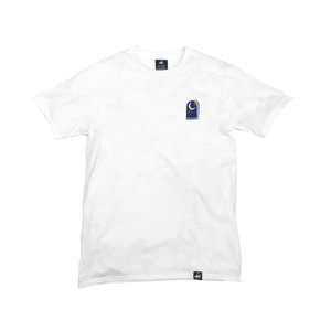 White Organic Cotton Tee + Shoot For The Moon Patch (L) - Iron & Stitch