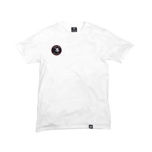 White Organic Cotton Tee + Whispering Tongues Patch (R) - Iron & Stitch