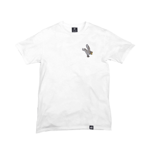 White Organic Cotton Tee + White Eagle Patch (L) - Iron & Stitch