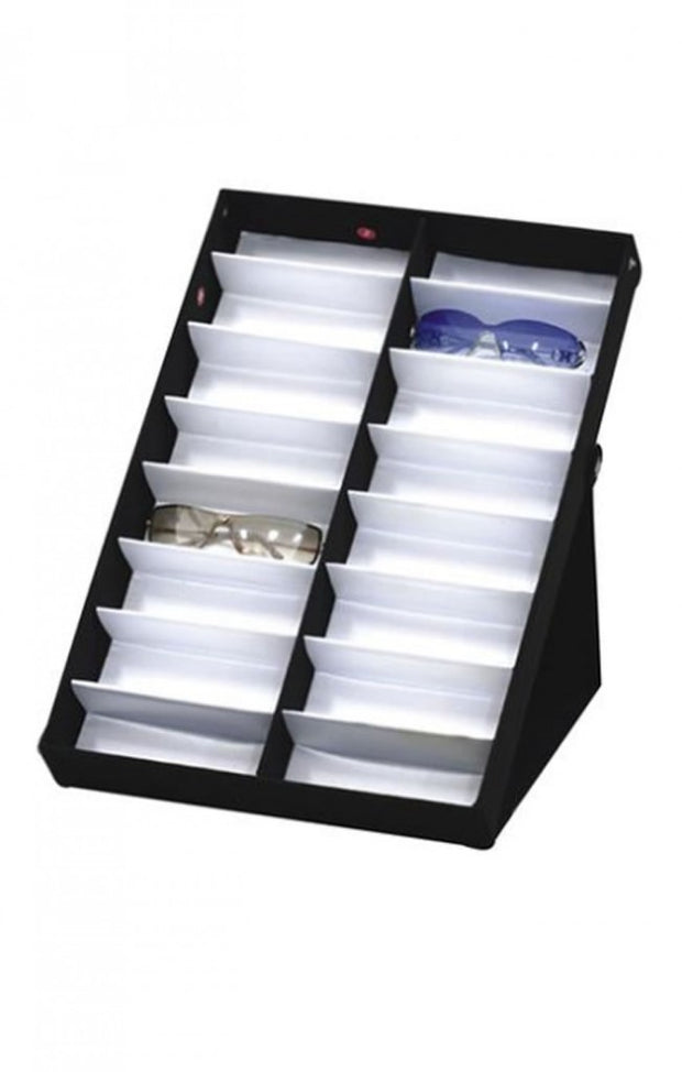 16 Piece Vinyl Sunglass Display Case Stand