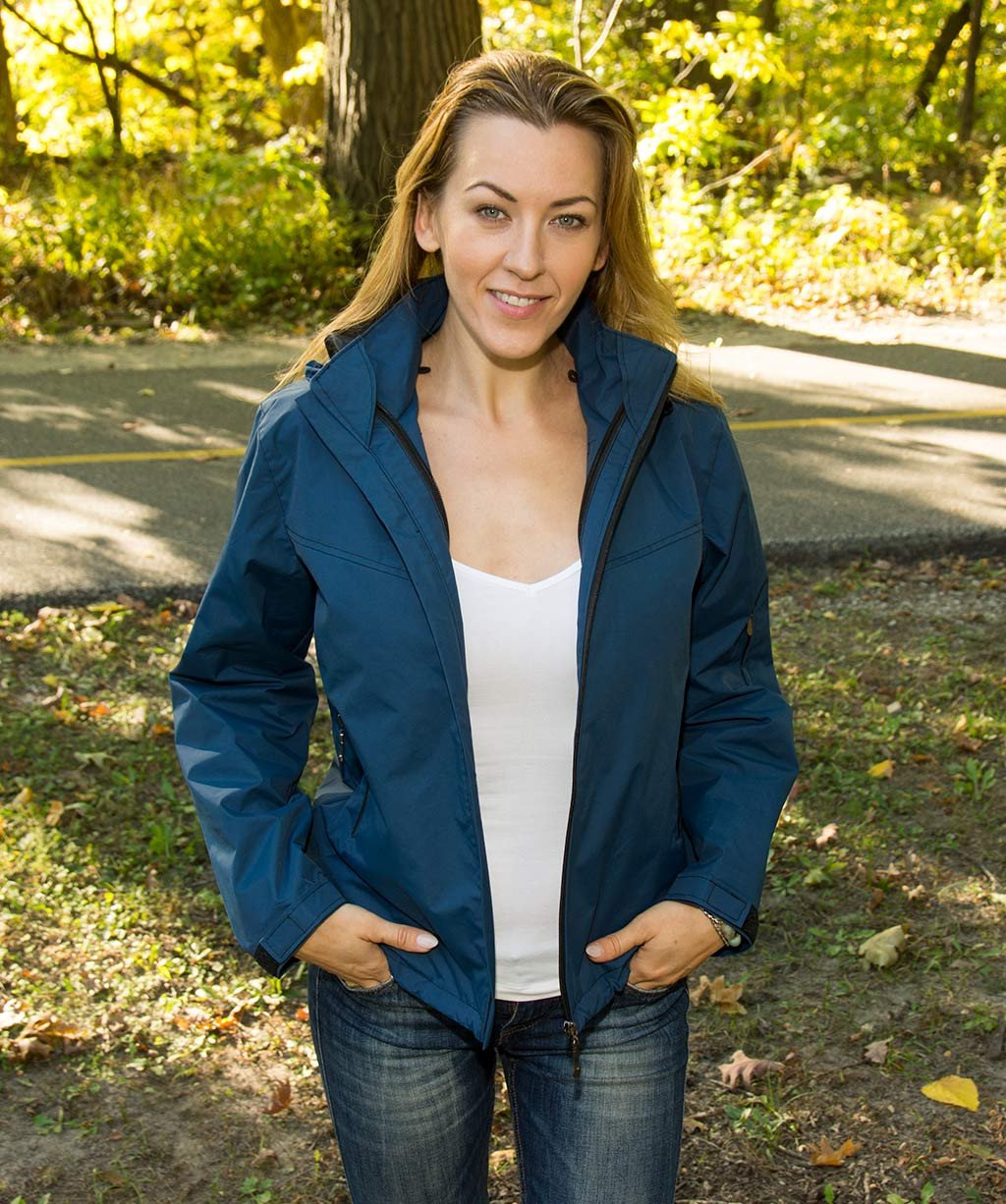Blue women's Jacket with lots of pockets