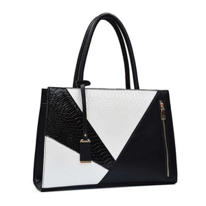 Color Block Leather Handbag Black