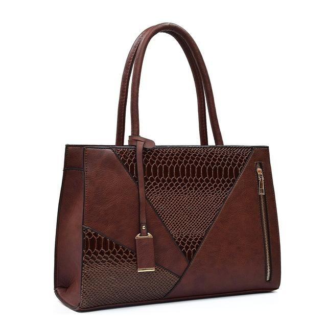 Color Block Leather Handbag Brown