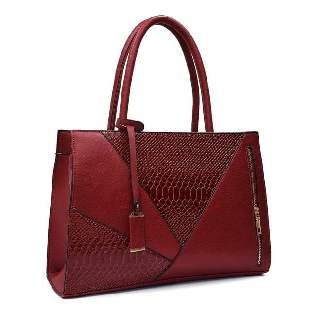 Color Block Leather Handbag Red