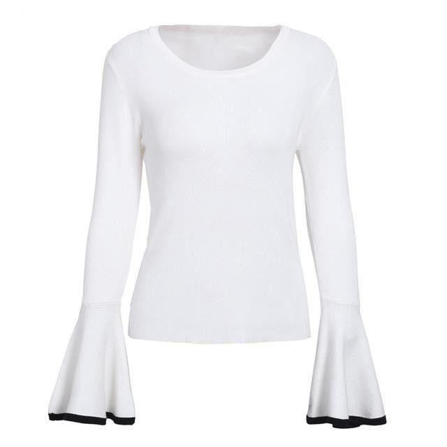 Flare Sleeve Sweater White / S Sexy Tops