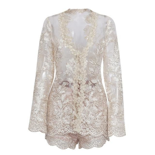 Sparkling Lace Romper Gold / S