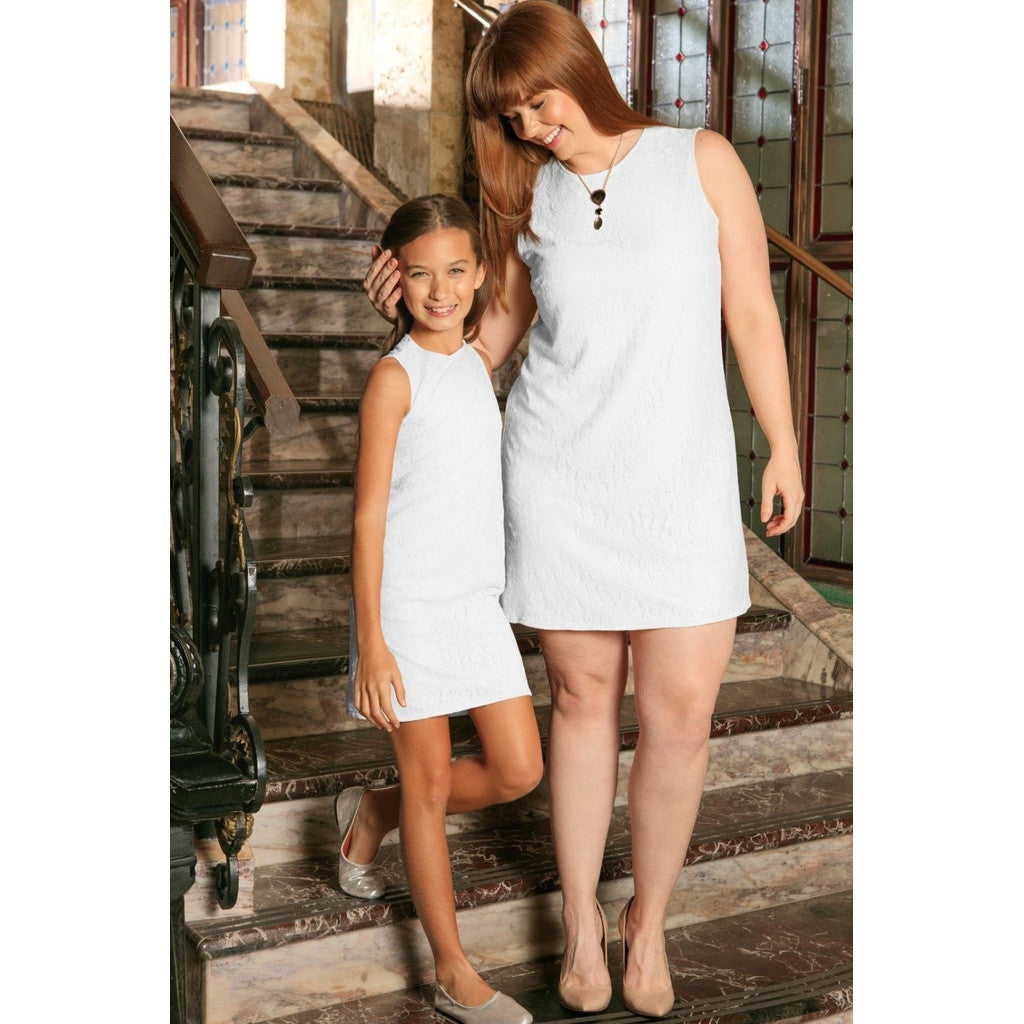 White Stretchy Lace Sleeveless Cute Summer Mommy & Me Dress Plus Size