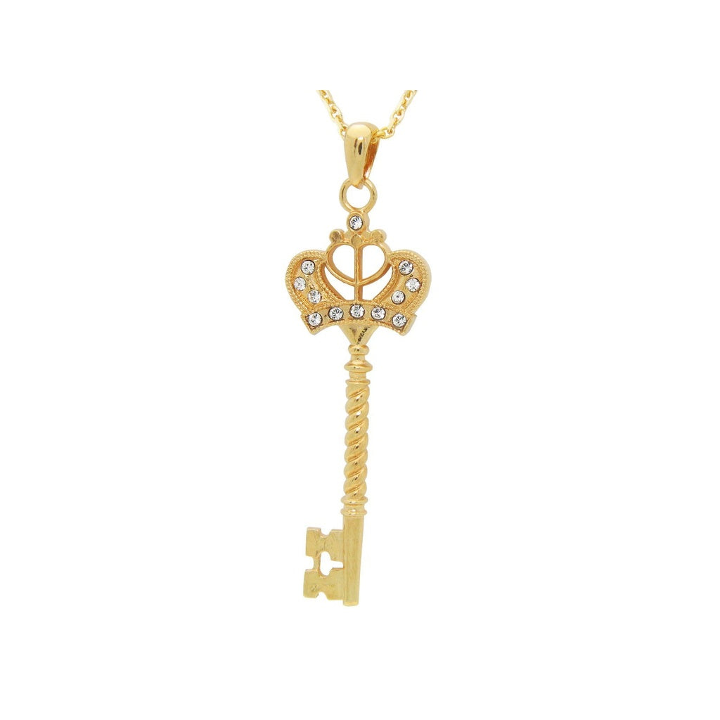 "Silver Gold Plated Cubic Zirconia Victorian Key Pendant Necklace 32"" Adjustable"