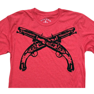 Flintlocks Crossed: Tri-Blend Short Sleeve T-Shirt in Tri Red