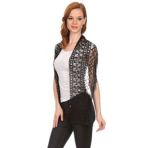 Womens Geometric Print Lace Scarf with Fringe