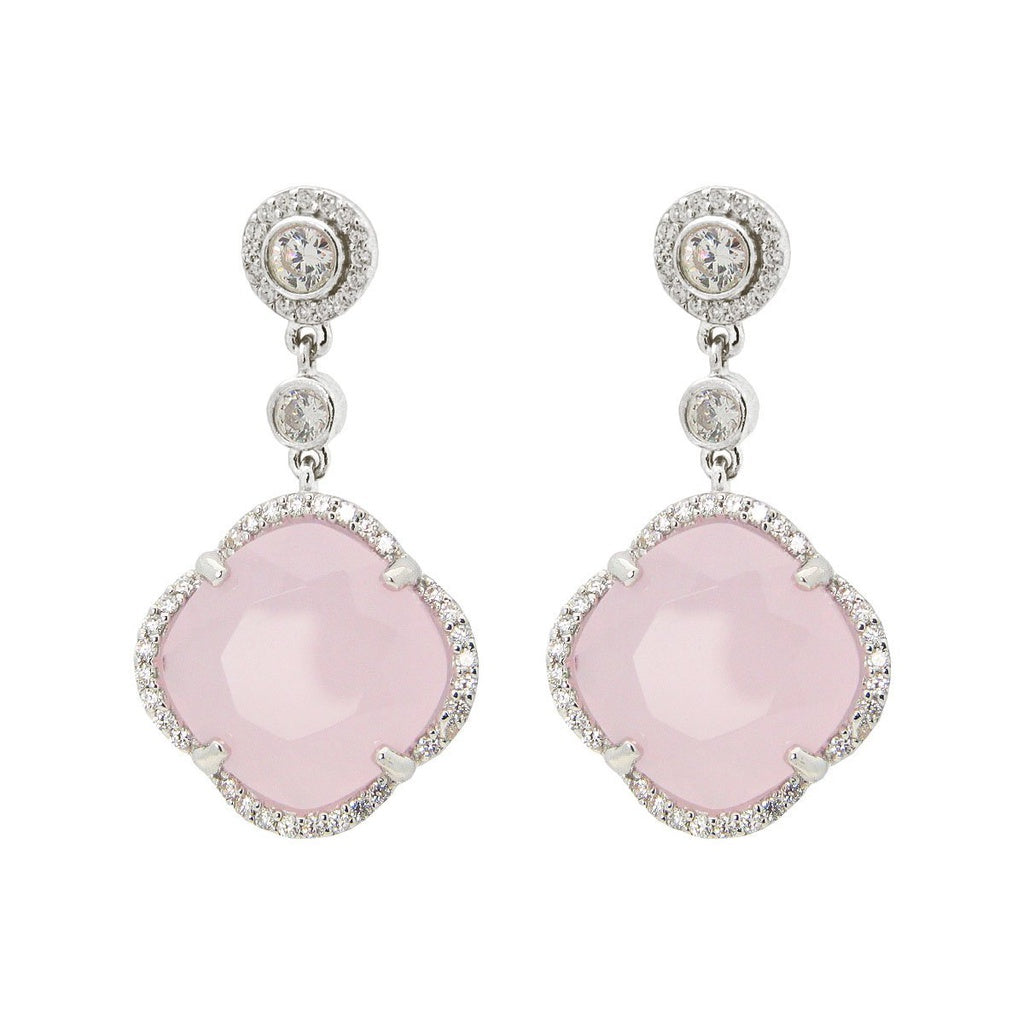 Women's Rose Zirconia Stone Clover Dangle Earrings CZ Border Rhodium Flashed Sterling Silver