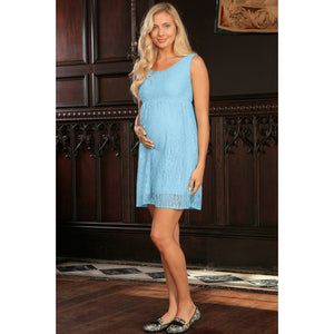 Blue Stretchy Lace Empire Waist Sleeveless Dress - Women Maternity