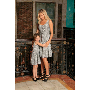 Black White Stretchy Sleeveless Skater Fit Flare Mother Daughter Dress