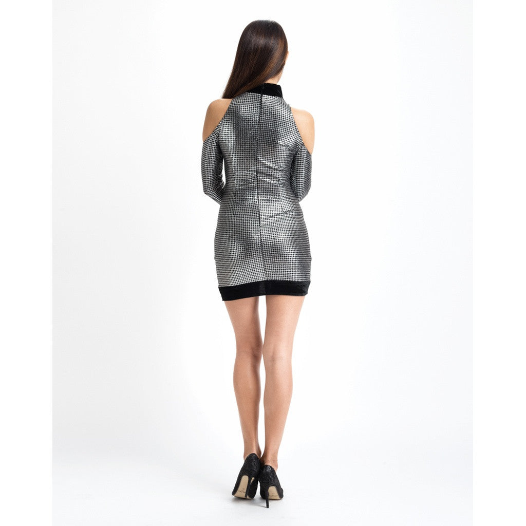 Silver Metallic Party Dress