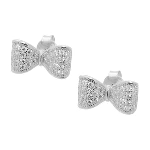 BecKids Sparkling CZ Silver Bow Ribbon Stud Earrings in Vermeil