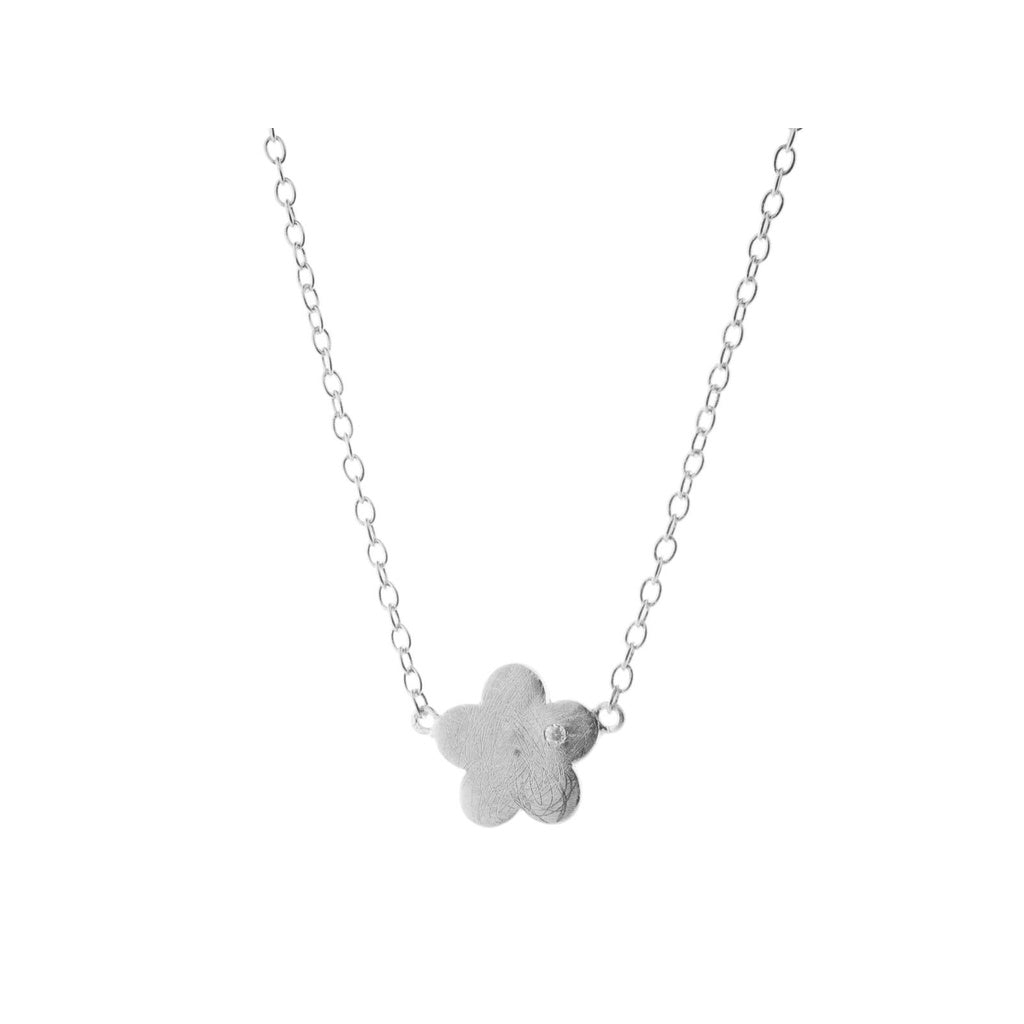 Sterling Silver Satin Graffiato Flower Pendant Necklace, 16 inches long