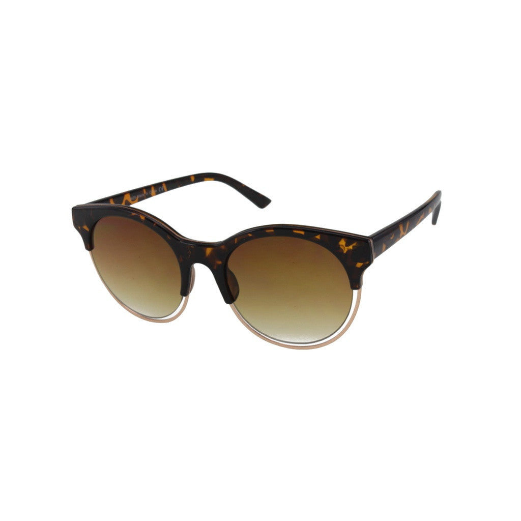 Unisex Tortoise Sunglasses with Floating Metal Rim