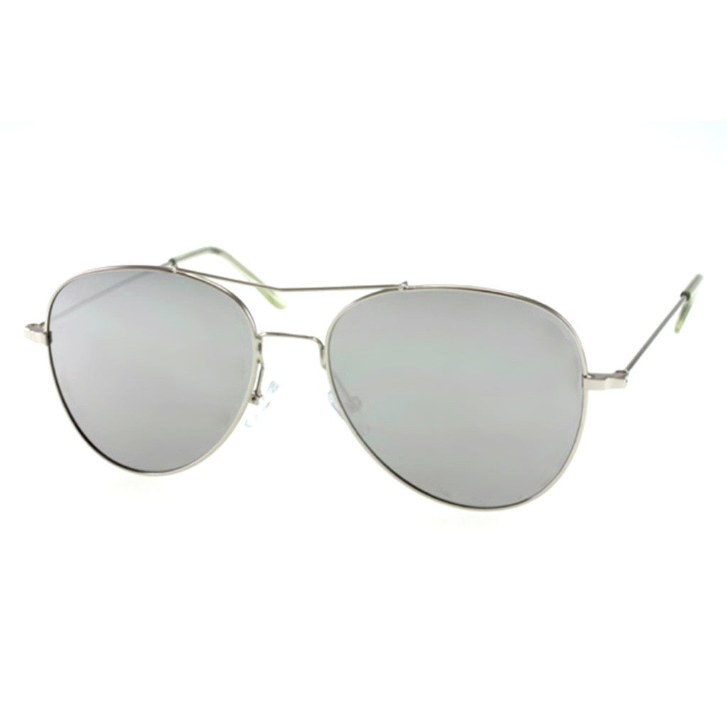 Gray Aviator Sunglasses with Unique Brow Bar