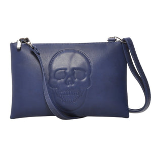 Mechaly Women's Skully Blue Vegan Leather Skull Clutch Crossbody Handbag