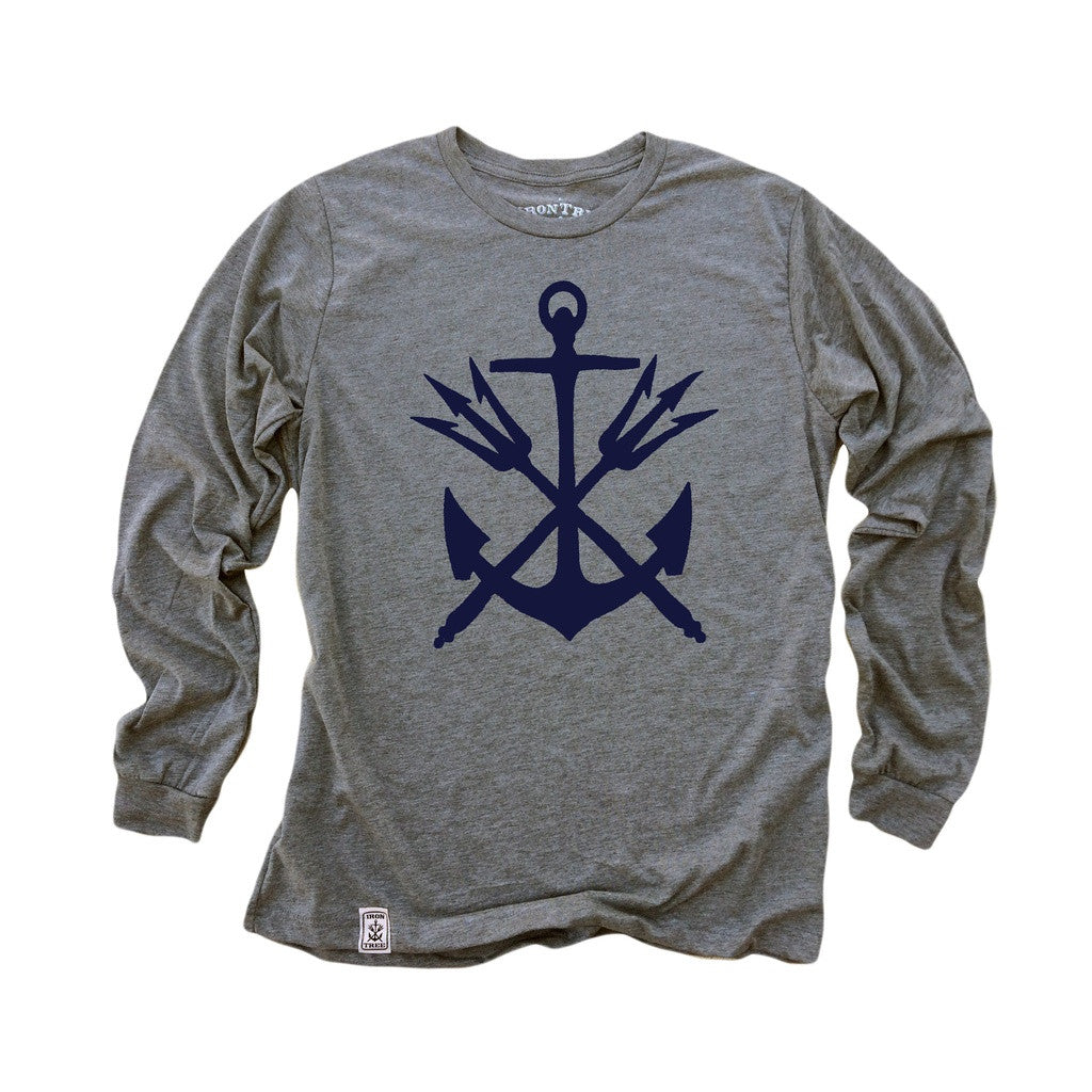 Anchor & Tridents: Tri-Blend Long Sleeve T-Shirt in Heather Grey