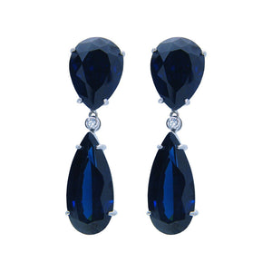 Beverly Hills Blue Sapphire Cubic Zirconia Sterling Silver Drop Earrings by Fronay Co