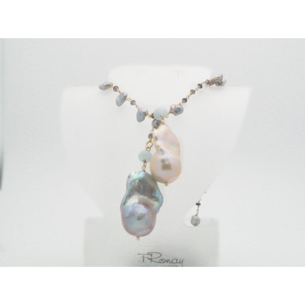 Fronay Co, Keshi Pearl - Baroque Gray Pearl - Aqua Marine - Sapphire Lariet Necklace, 45""