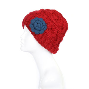 Women Two Tone Winter Beanie Hat Flower Accent