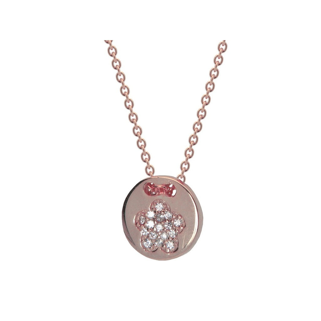 "Silver Pink Plated Cz Flower 10mm Disc 15.5""+ 1.5"" Necklace"