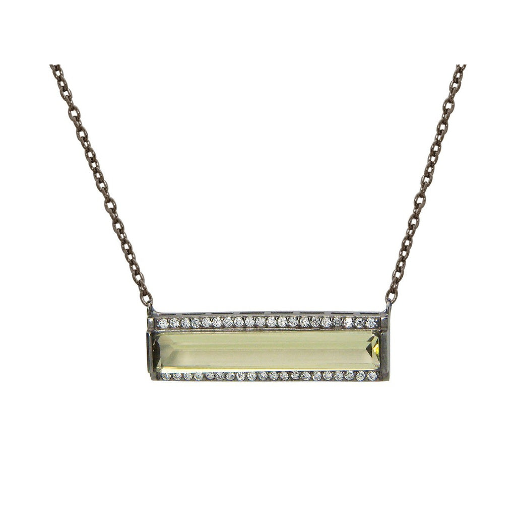 Midnight Yellow Flash Bar Necklace