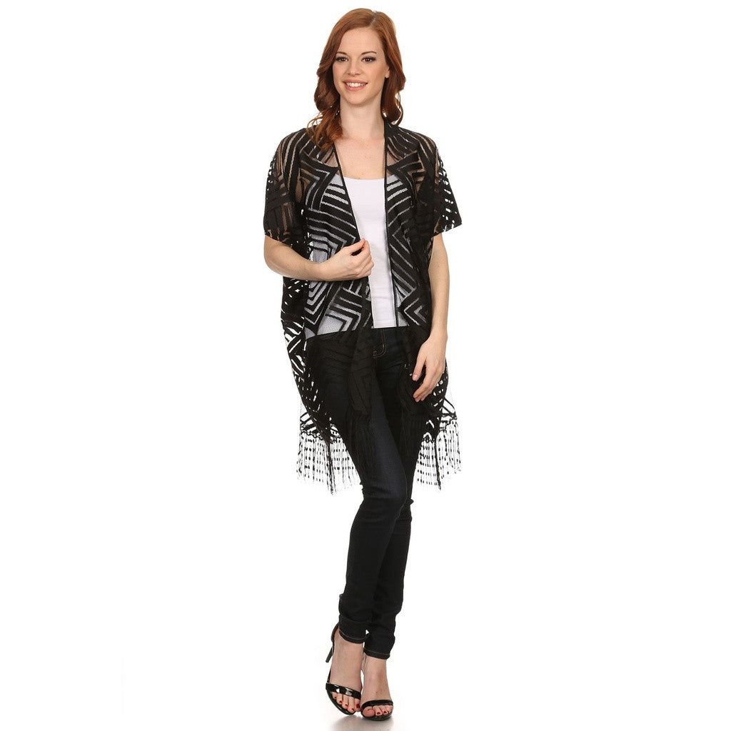 Womens Open Front Geometric Lace Kimono Style Poncho with Fringe.
