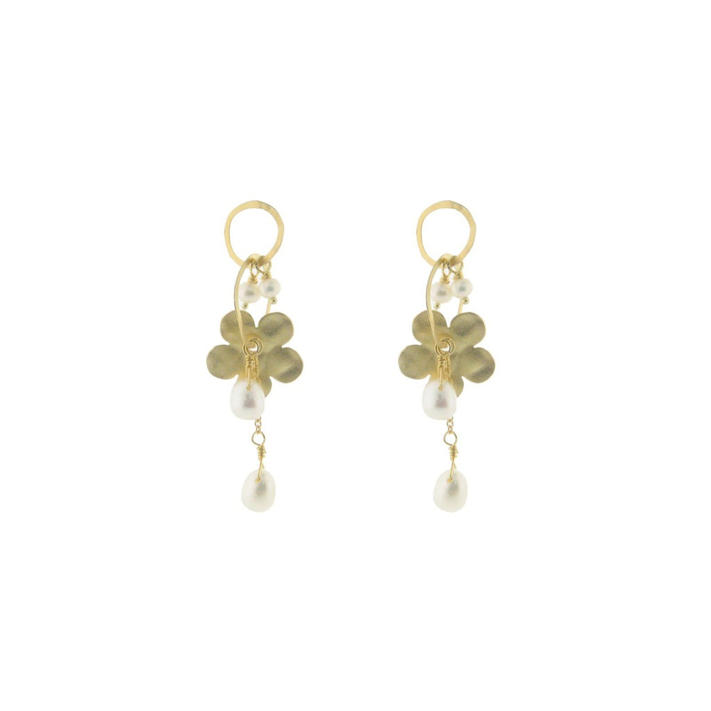 Hammered Gold Rings, Flowers & Pearls Earrings