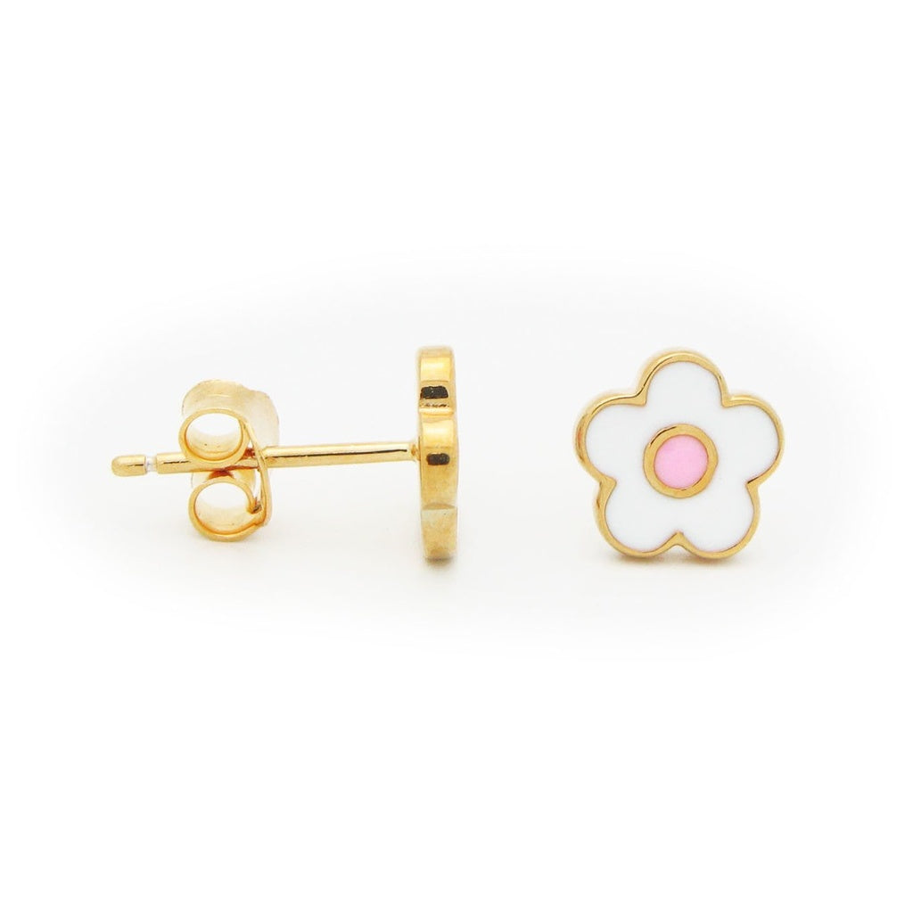 Silver Gold Plated White Enamel Pink Dot Flower Stud Earrings