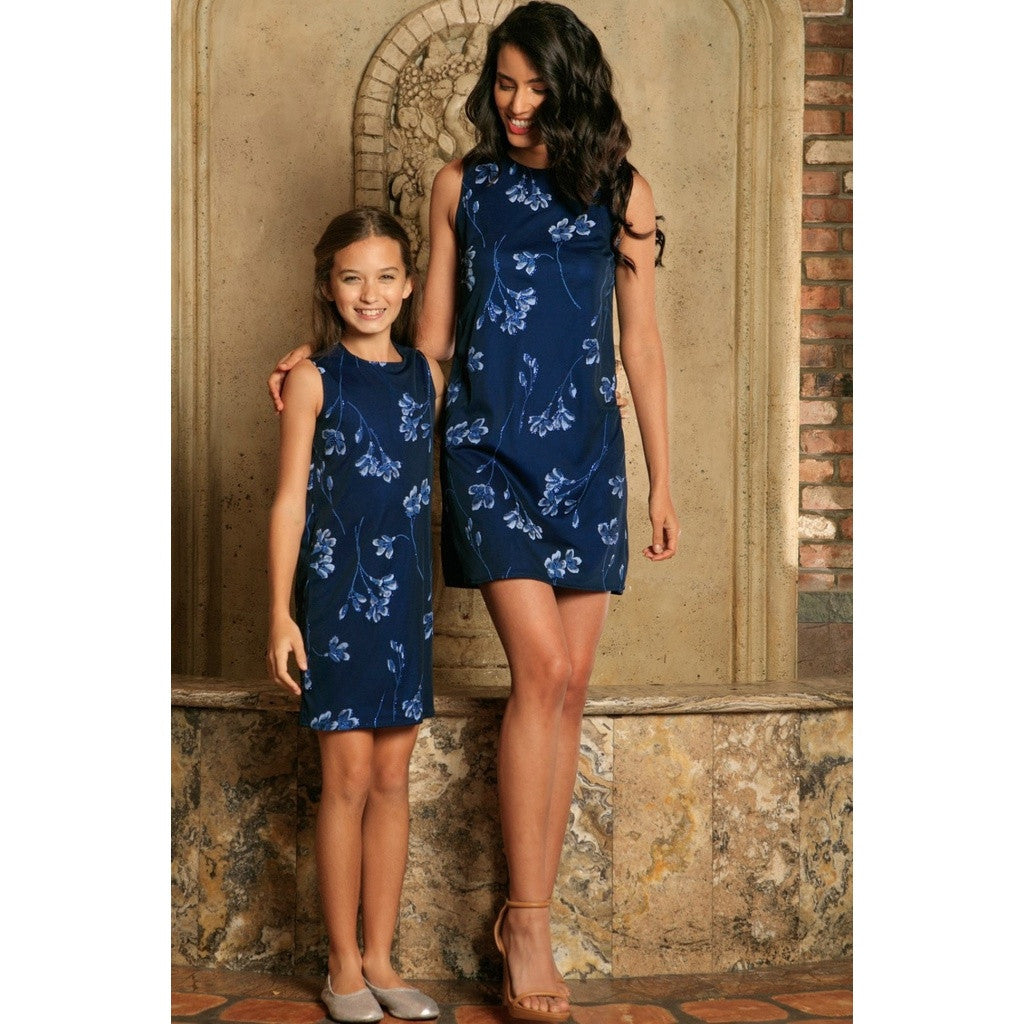 Navy Blue Floral Lace Sleeveless Cocktail Shift Mommy and Me Dress