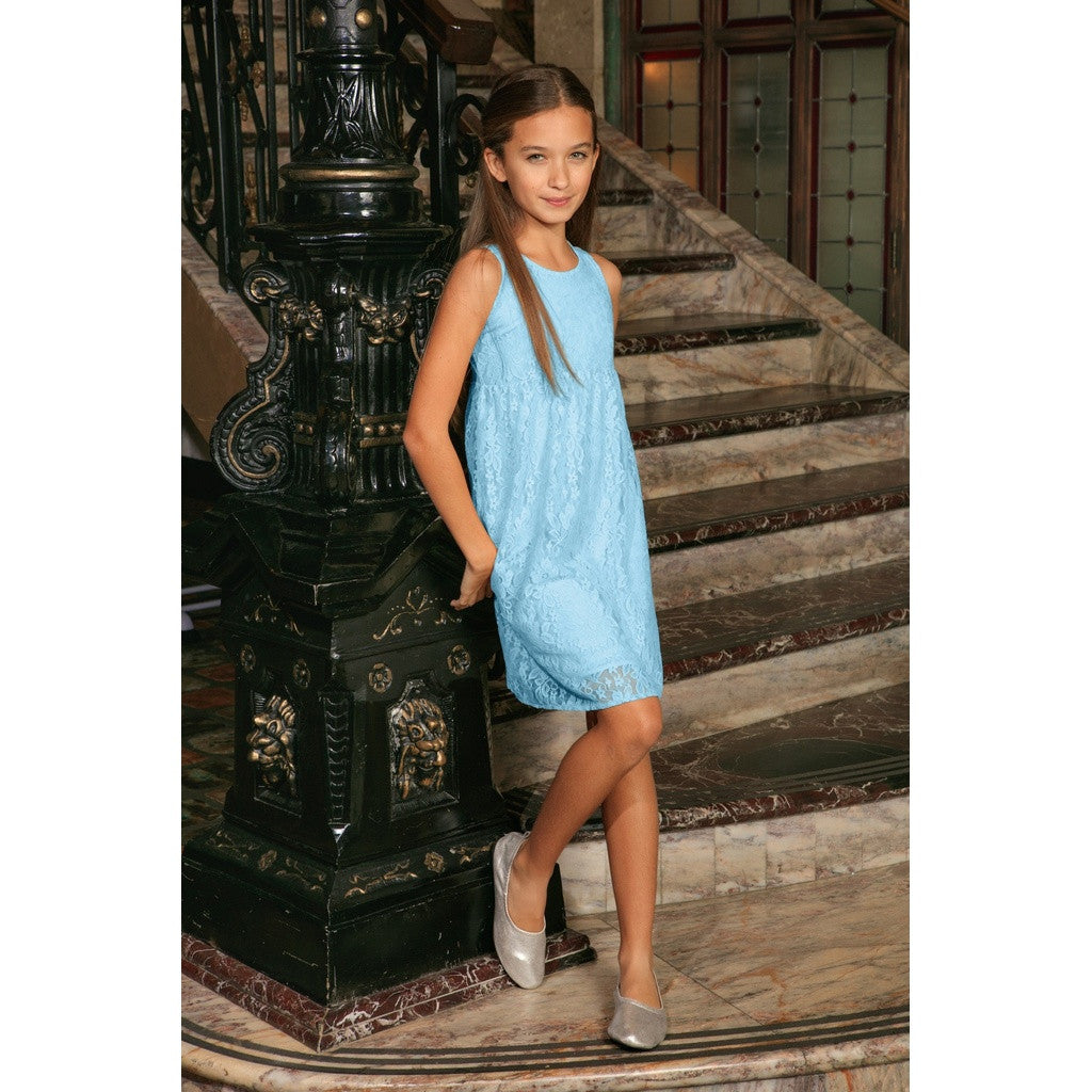 Baby Blue Stretchy Lace Summer Empire Waist Mommy & Me Dress Plus Size