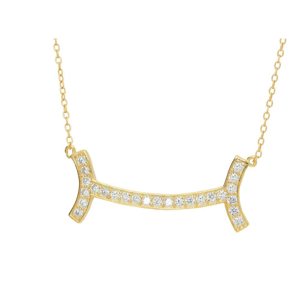 "Fine Gold Plated Sterling Silver Diamond Studded Curved Smile Bar Necklace for Women,16""-18"""