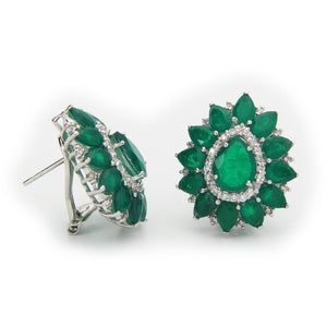 Victorian Emerald-Quartz Doublet Earrings