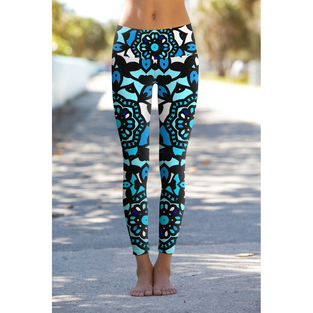 Kaleidoscope Lucy Blue Geometric Print Performance Yoga Leggings - Women