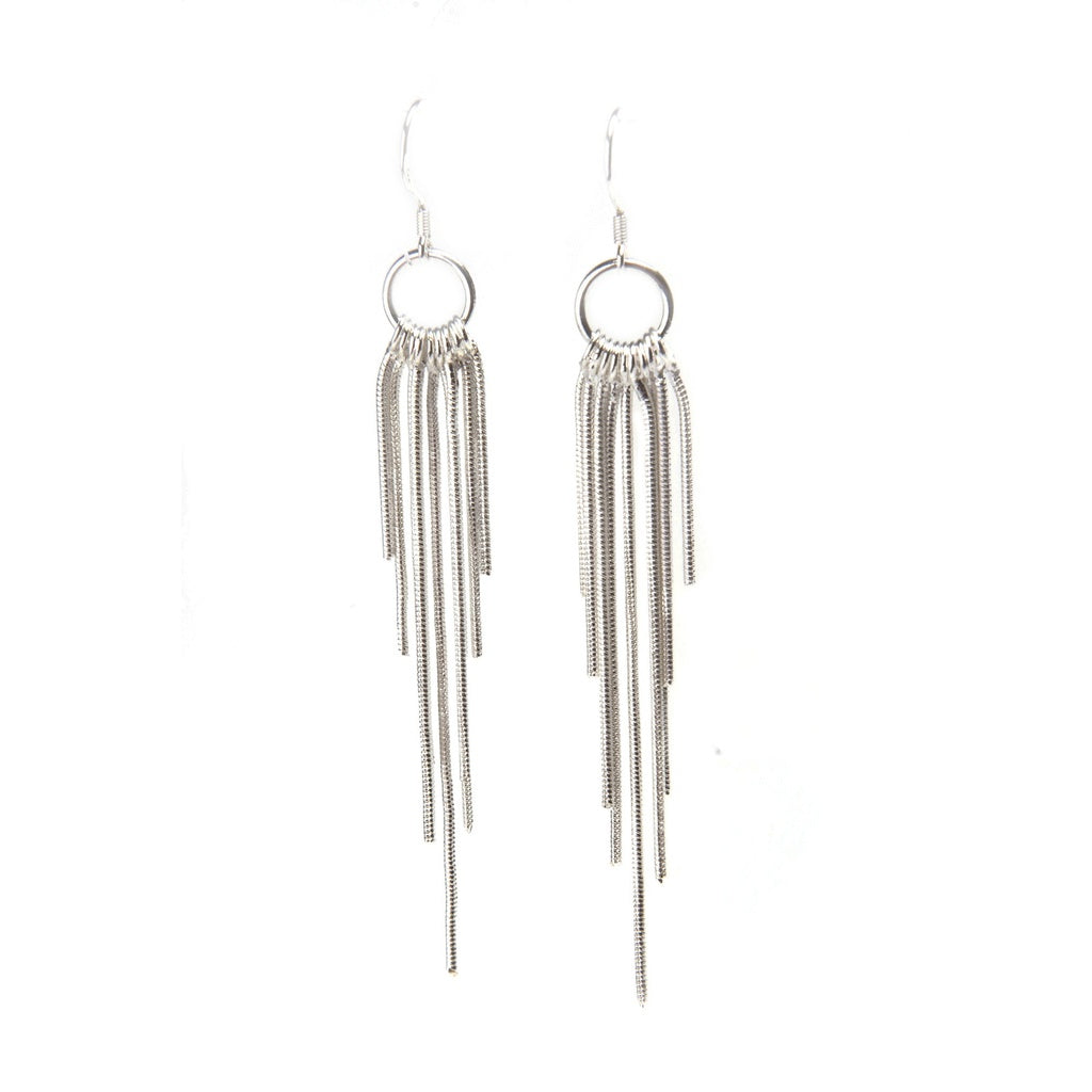 Olina Sterling Silver Fringe Tassel Earrings