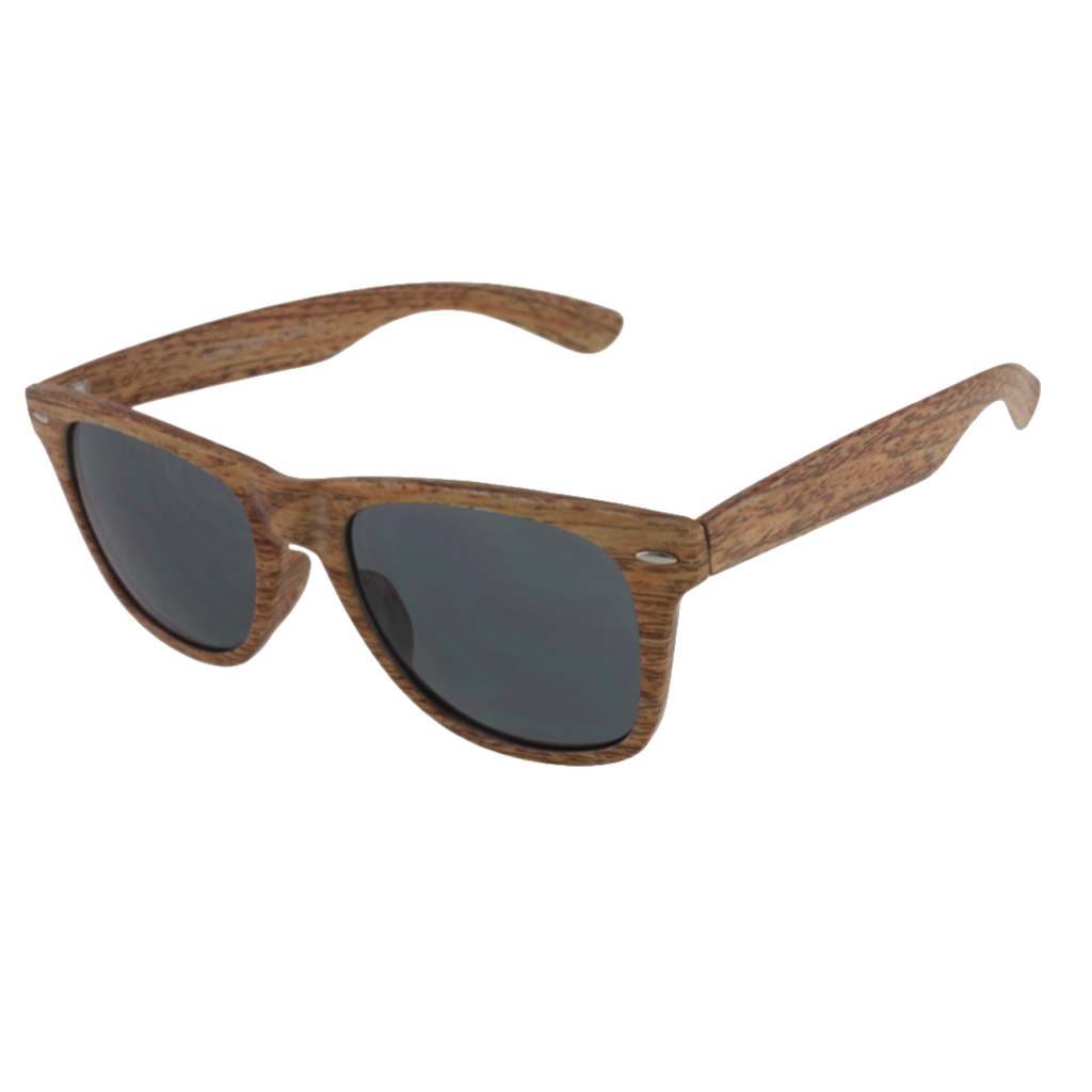 Unisex Wayfarer Sunglasses in Maple Faux Wood